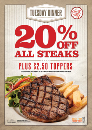 Tuesdays 20% Off All Steaks