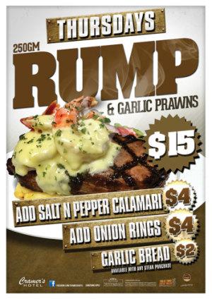 Thursday $15 Rump & Garlic Prawns