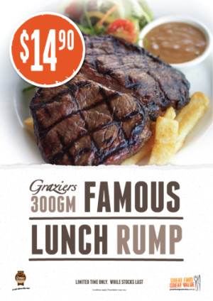 $14.90 Graziers 300g Famous Lunch Rump