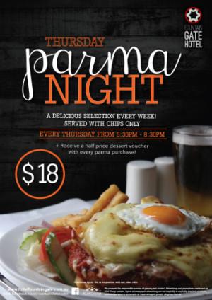 Thursday $18 Parma Night